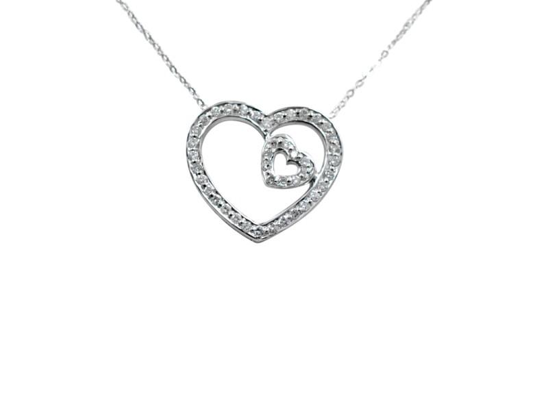 14K White Gold Diamonds Diamond Heart Pendant