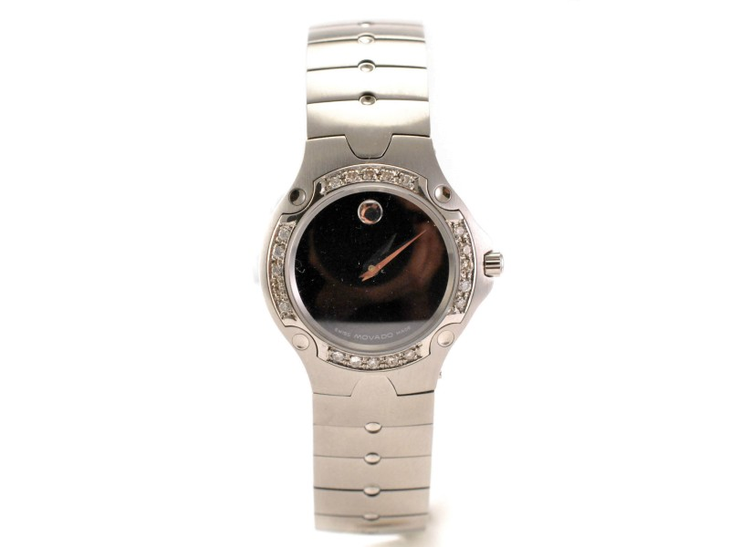 Movado model 84 A1 1831 Stainless Steel Bracelet and Diamond Bezel Ladies
