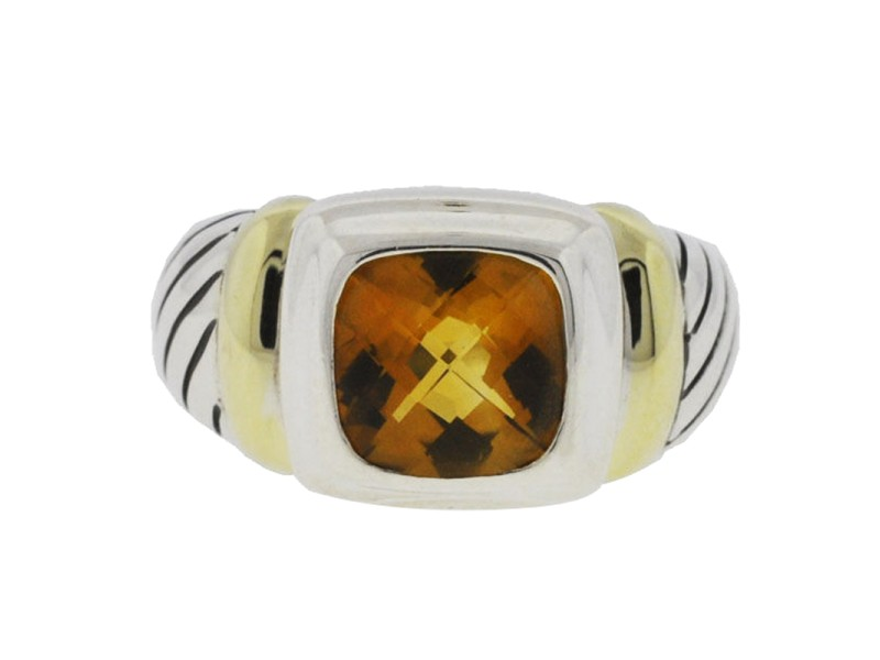 David Yurman Sterling Silver Yellow Gold Citrine Ring