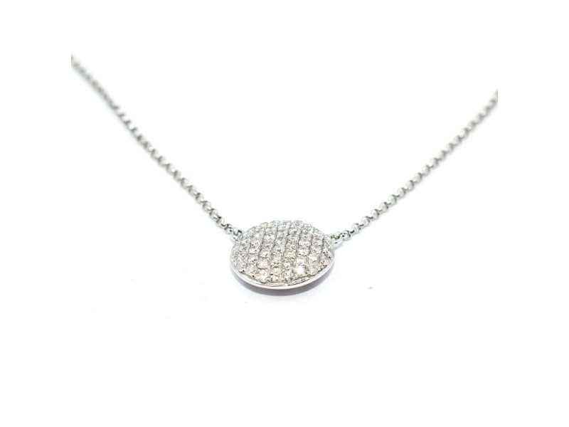18K White Gold Diamonds Round Pendant Necklace