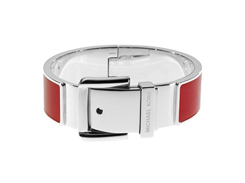 Michael Kors Stainless Steel and Red Enamel Buckle Bracelet