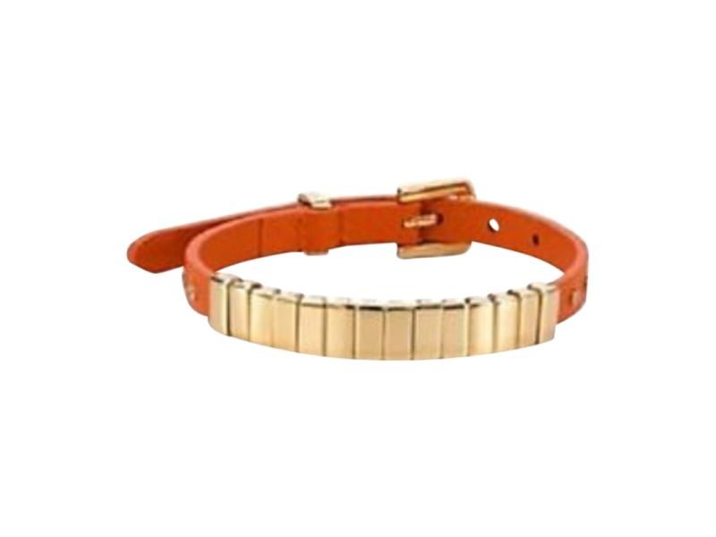 Michael Kors Gold Tone Orange Leather Wrap Bracelet