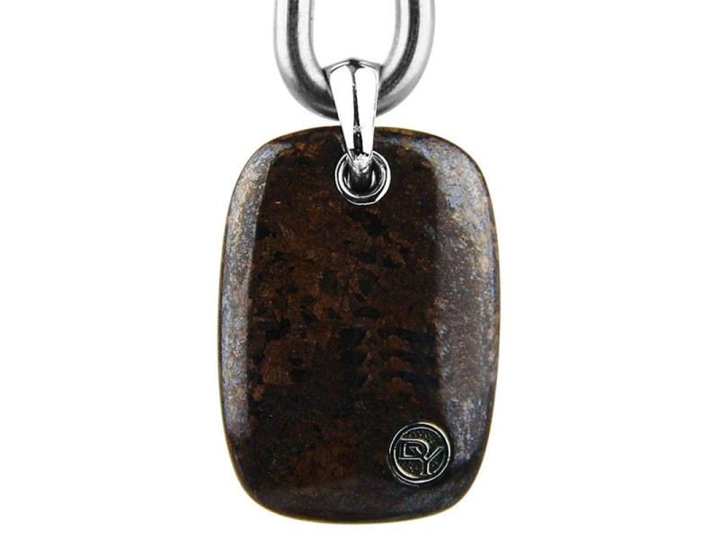 David Yurman Sterling Silver Exotic Bronzite Tablet Dog Tag