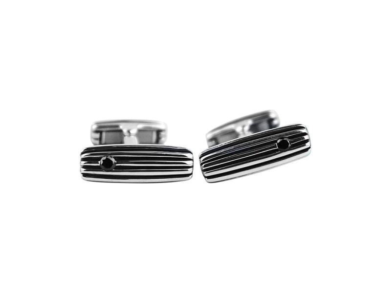David Yurman Sterling Silver & Black Diamond Royal Cord Cufflinks