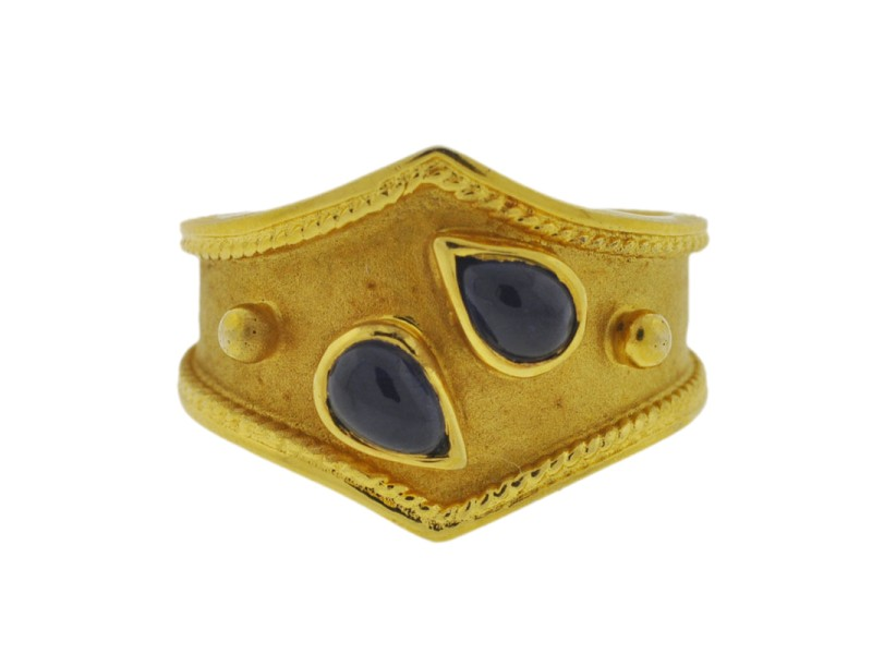 14K Yellow Gold Sapphire Cabochon Ladies Ring