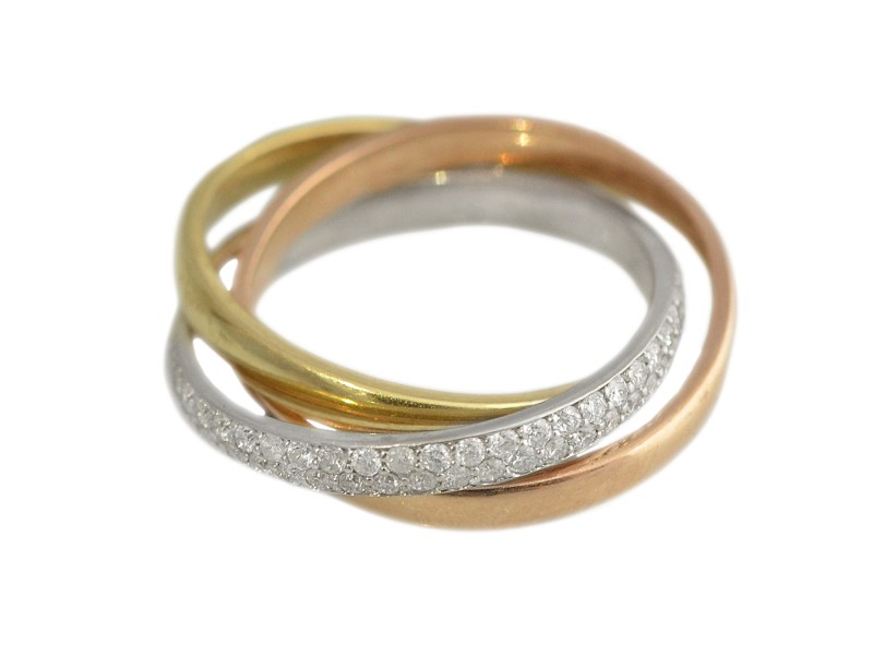 14K Tricolor Gold Diamond Ring