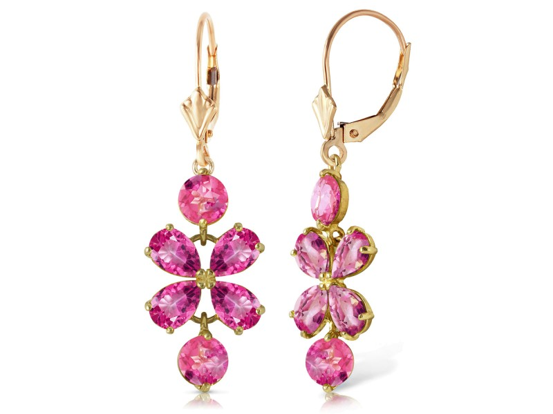 5.32 CTW 14K Solid Gold Petals Pink Topaz Earrings