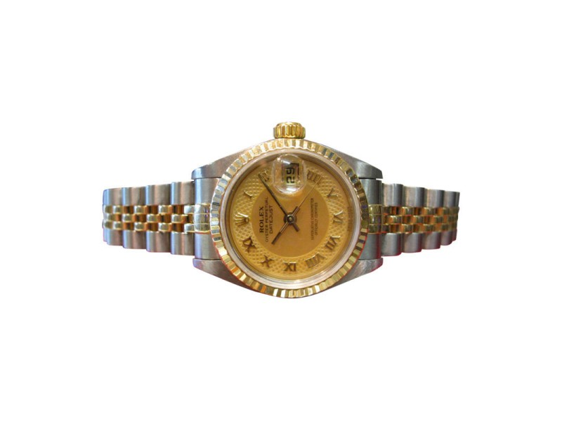 Rolex Datejust Mother Of Pearl Roman Numeral Two-Tone Gold & Stainless Ladies Watch