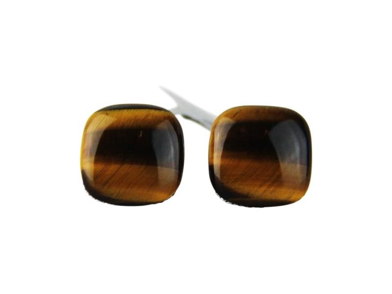 David Yurman Sterling Silver Square Tiger Eye Cufflinks