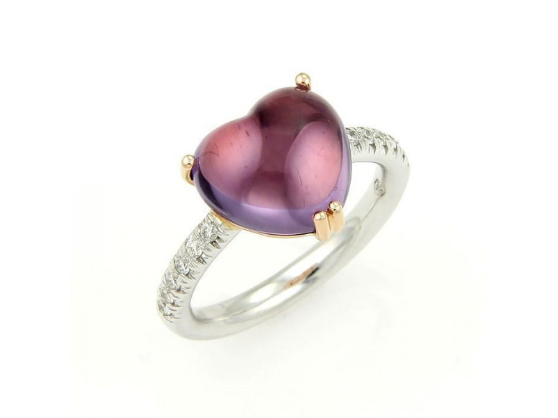 Mimi 18K Two Tone Gold Diamond & Amethyst Heart Cocktail Ring