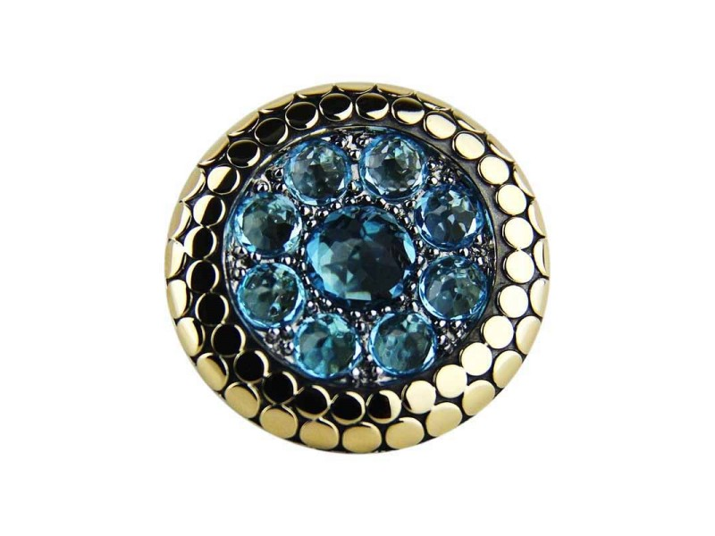 John Hardy Sterling Silver & 18K Yellow Gold Blue Topaz Dot Ring Size 7