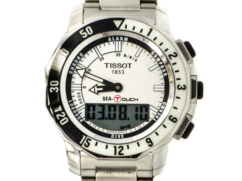 Tissot T026420A Stainless Steel White Dial Alarm Compass Digital Men's Watch