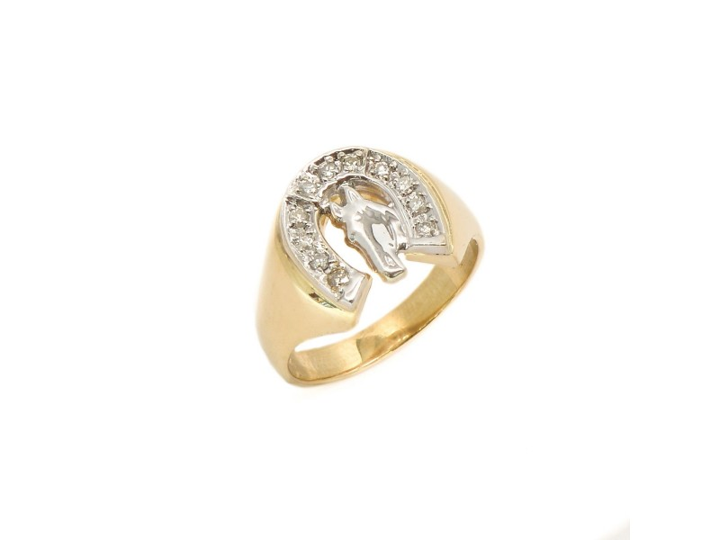 14K Yellow Gold Classic Horse Shoe Style Ring