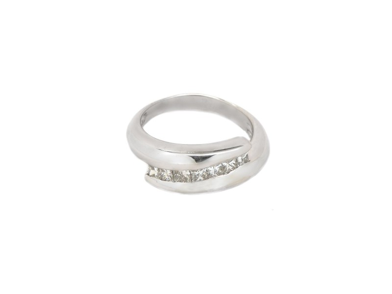 14K Princess Cut White Diamonds Wedding Band