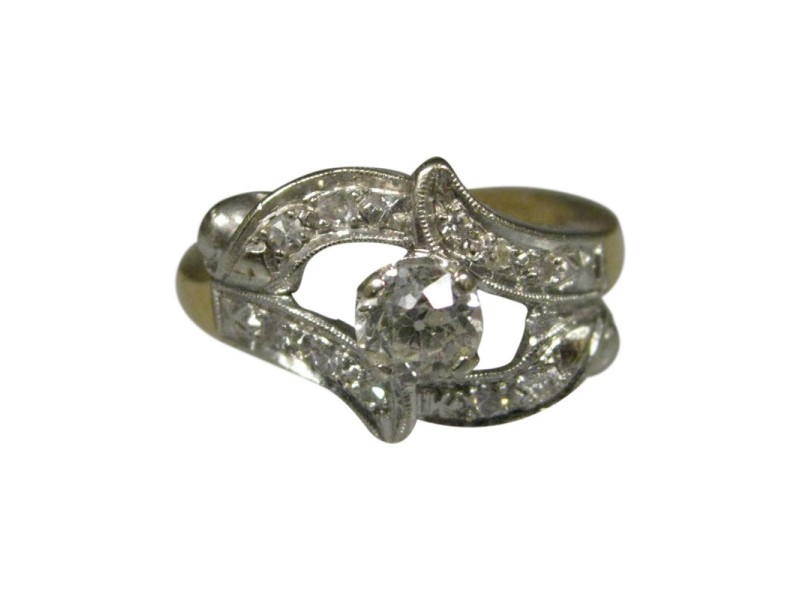 14K Multi Tone Gold Antique European Cut Diamonds Ladies Ring