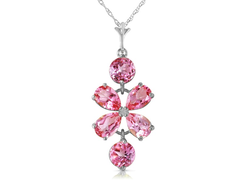 3.15 CTW 14K Solid White Gold Vivian Pink Topaz Necklace