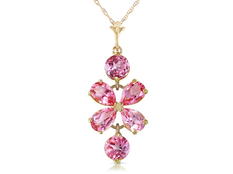 3.15 CTW 14K Solid Gold Flee From Memory Pink Topaz Necklace