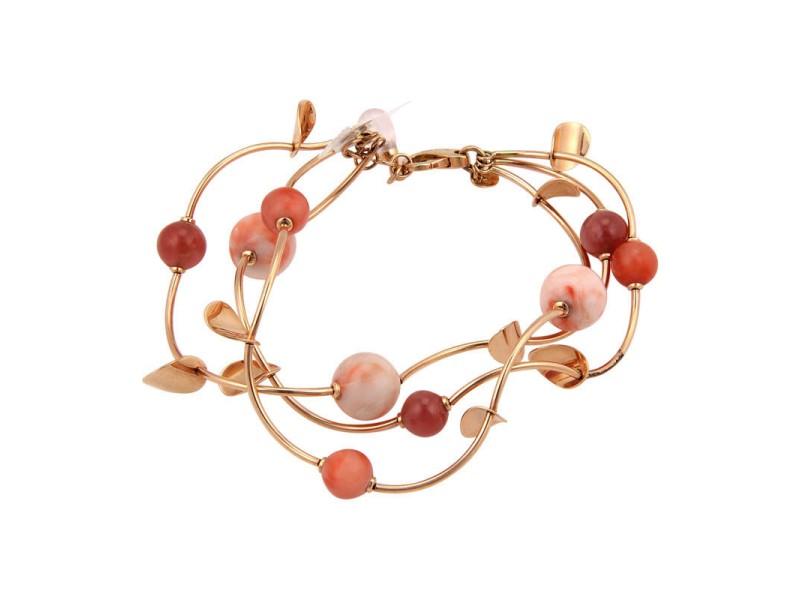 Faro Italy 14K Rose Gold Coral Beaded Triple Strand Bracelet