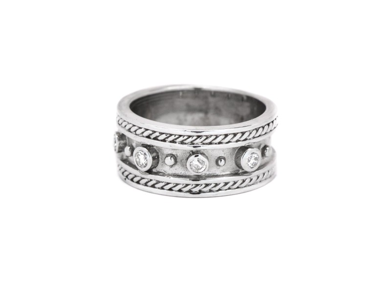 White White Gold Diamond Mens Ring Size 5