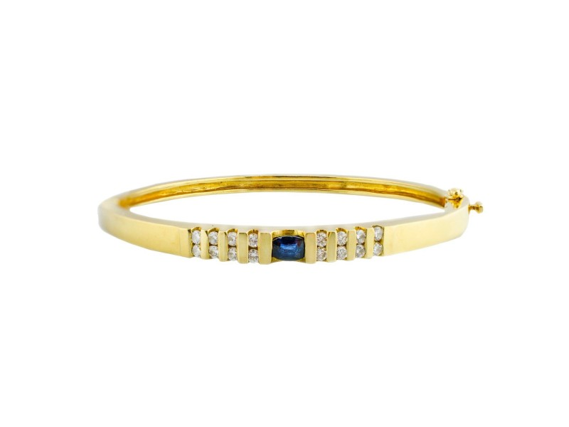 14K Yellow Gold 0.56Ct GVS1 Diamond 0.30Ct Sapphire Bangle