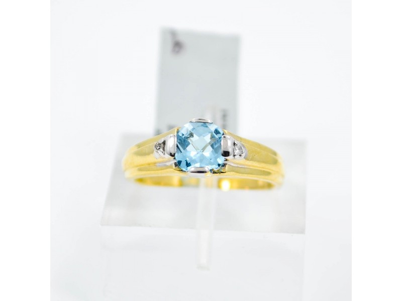 Blue Topaz Ring With 0.07Ct Genuine Diamonds in 10K Yellow Gold Size 6.75