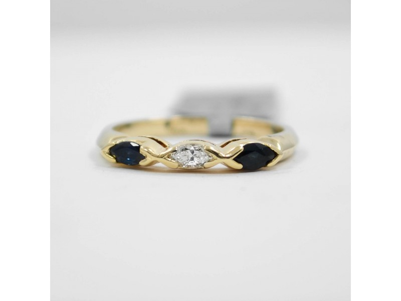 Marquise Sapphire & Diamond Ring 0.38CT 14K Yellow Gold SIZE 6