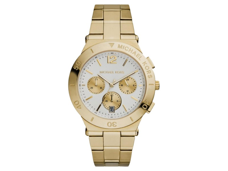 Michael Kors MK5933 Wyatt Chronograph White Dial Gold Ion-plated Womens Watch