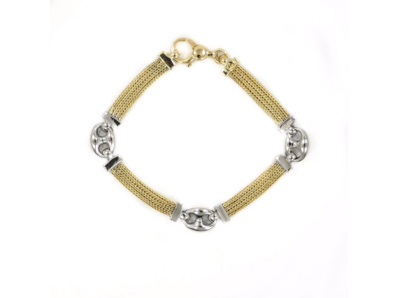 14K Yellow Gold Two-Tone Bracelet