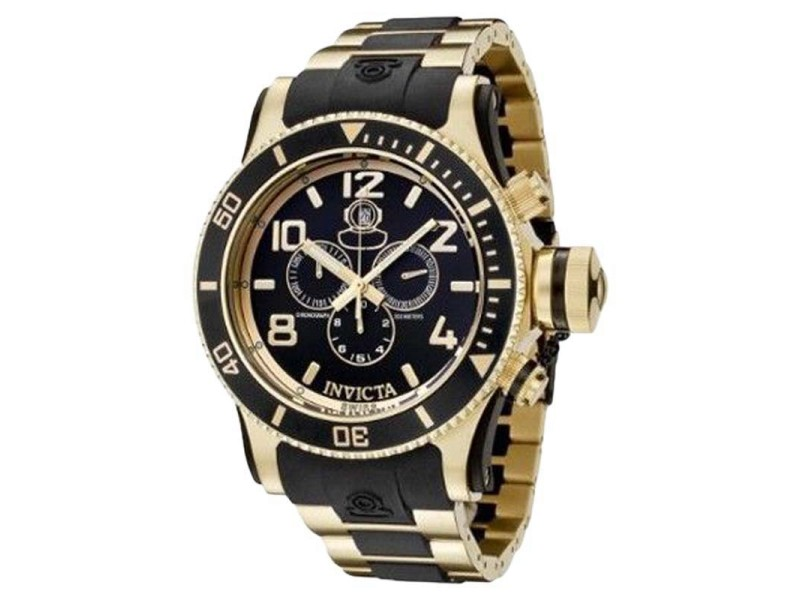 Invicta 6633 Russian Diver Collection Chrono Gold-Plated Black Rubber Watch