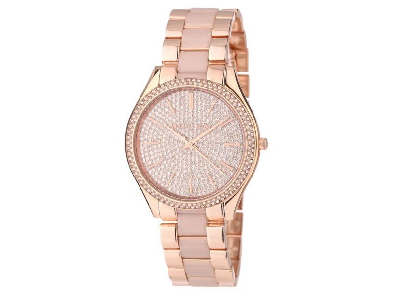 Michael Kors Slim Runway MK4288 Gold Crystal Dial Gold Steel Bracelet Womens Watch