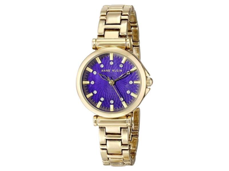 Anne klein ak 1622pmgb swarovski crystal purple dial gold tone women 39 s watch anne klein buy for Anne klein swarovski crystals