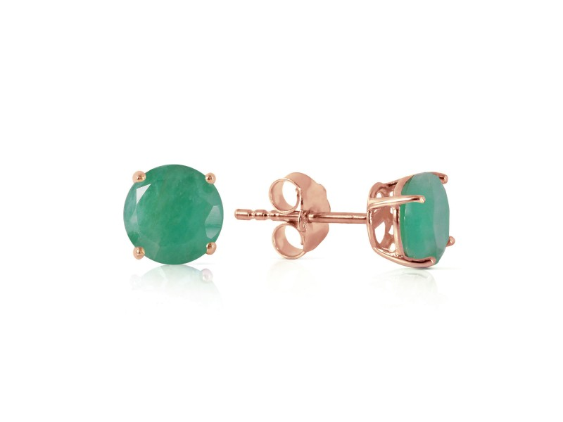 0.95 CTW 14K Solid Rose Gold Spotlight Emerald Stud Earrings