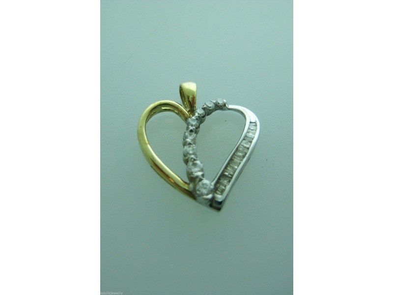 10K MULTI TONE GOLD HEART BAGUETTE DIAMONDS PENDANT CHARM NECKLACE LOVE