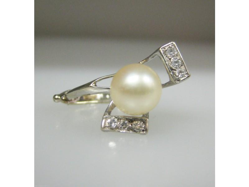 White White Gold Diamond, Pearl Womens Ring Size 2