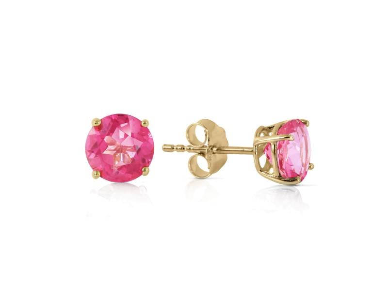 1.3 CTW 14K Solid Gold Pink In June Pink Topaz Earrings