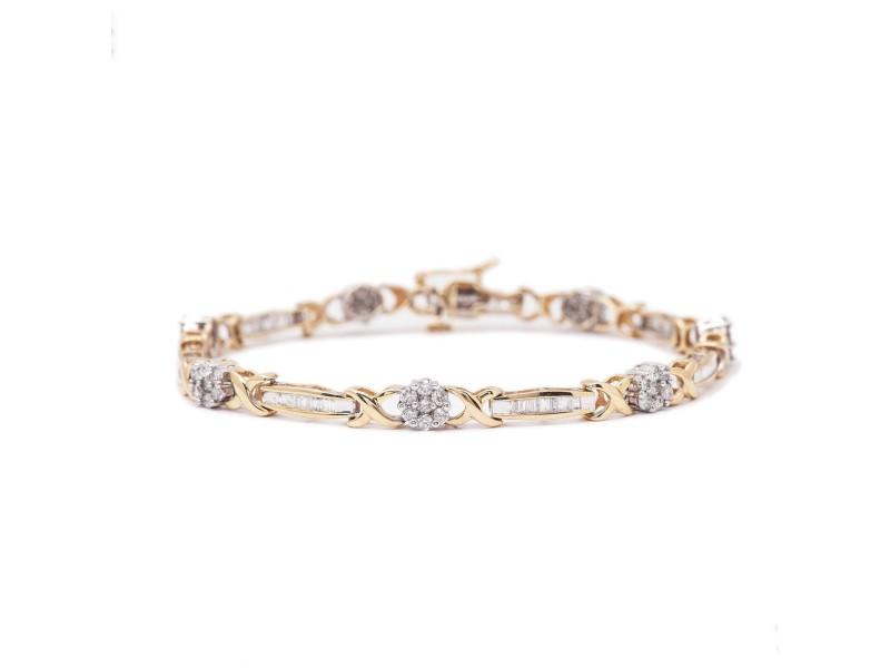 14K YELLOW GOLD WOMENS PAVE DIAMOND XO BRACELET 3CT 11.1GR SIZE 7INCHES