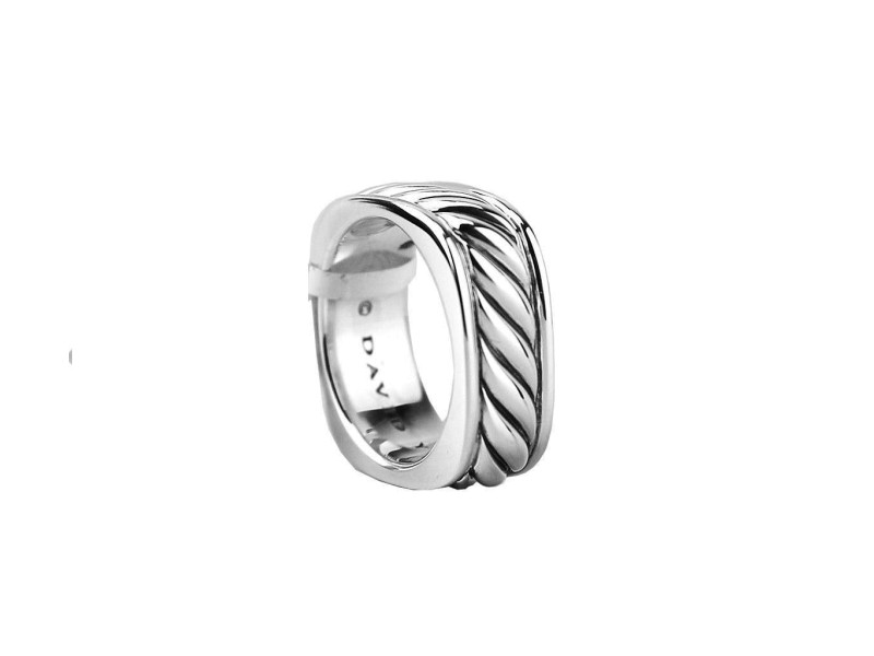 David Yurman 925 Sterling Silver Narrow Sculptured Cable Square Band Ring
