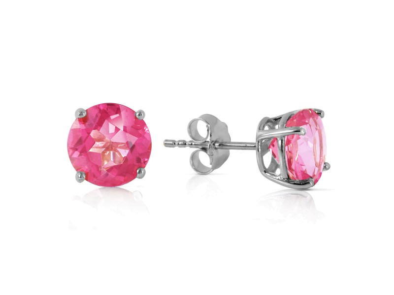 3.1 CTW 14K Solid White Gold Small Victories Pink Topaz Earrings