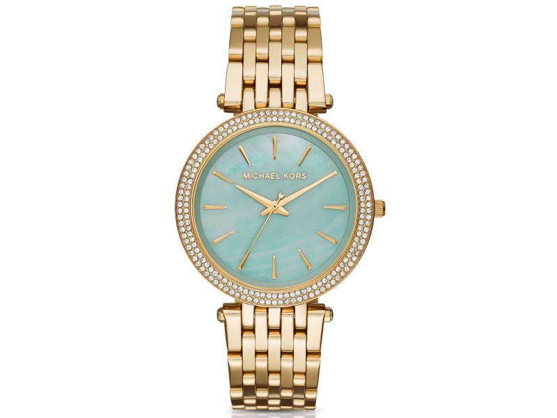 Michael Kors Darci MK3498 Gold-Tone Stainless Steel Aqua Mother of Pearl Dial 39mm Watch