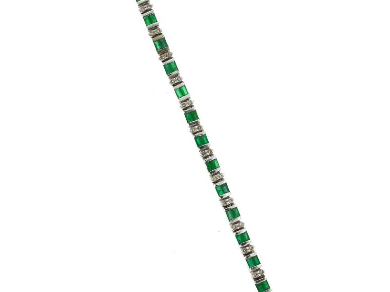 White White Gold Emerald, Diamond Womens Bracelet