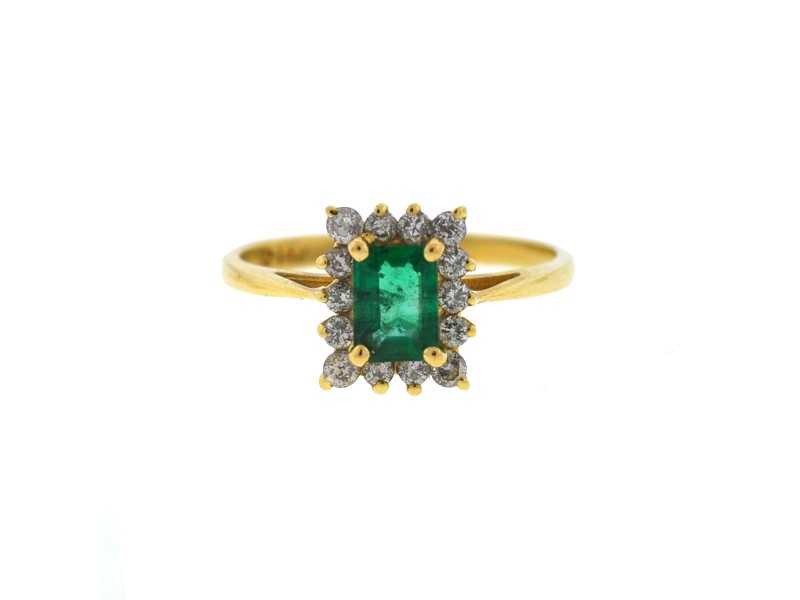 Yellow Gold Emerald, Diamond Womens Ring