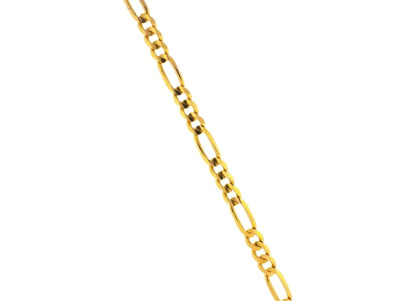 Figaro Yellow Gold Diamond Mens Bracelet