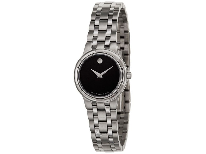 Movado Metio 0606204 Stainless Steel Black Dial 27mm Womens Watch