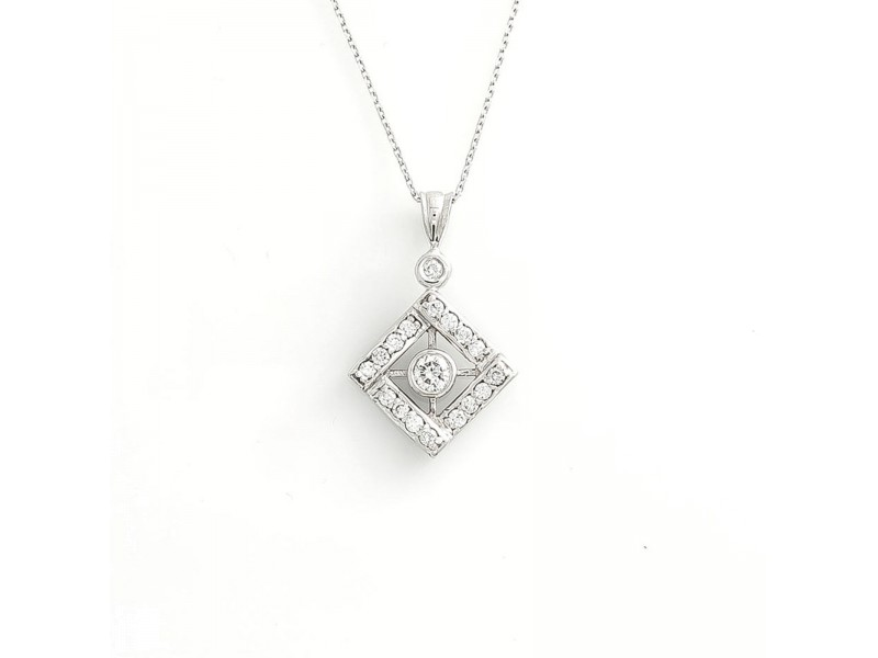 14K White Gold 0.53 Ct Round G Color VS Diamond Pendant 3.6 Grams