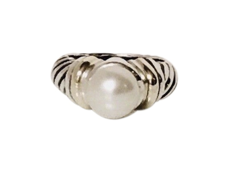 David Yurman Classic Cable Sterling Silver and 14K Yellow Gold with Pearl Capri Ring Size 5