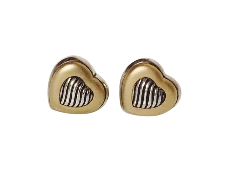 David Yurman Carved Cable Sterling Silver and 18K Yellow Gold Heart Earrings