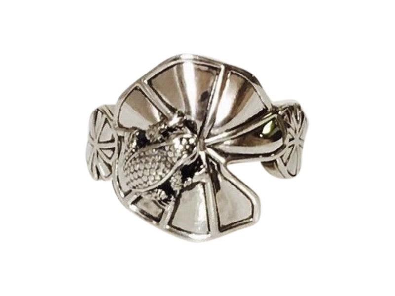 Kieselstein-Cord Sterling Silver Frog & Lily Pad Ring Size 9