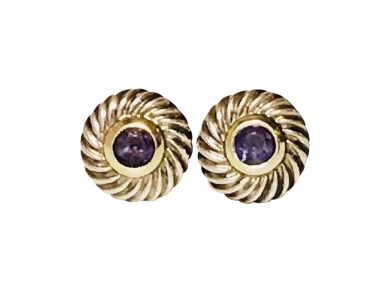 David Yurman Classic Cable Sterling Silver and 14K Yellow Gold with Iolite Cookie Earrings
