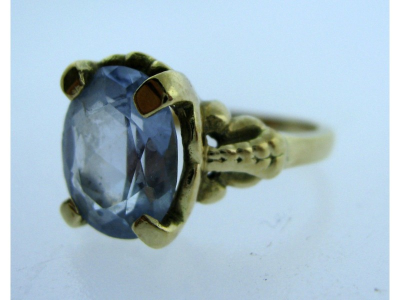 14K YELLOW GOLD LADIES AQUA STONE RING SIZE 4.5