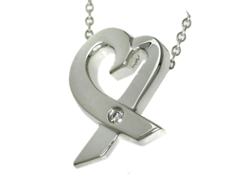 Tiffany & Co. 925 Sterling Silver with Diamond Loving Heart Pendant Necklace